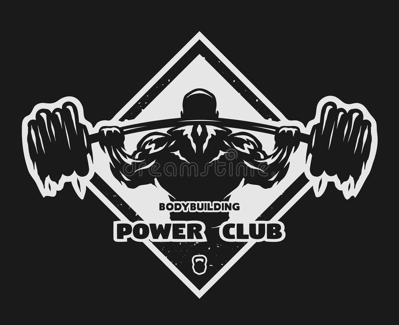 Download Bodybuilder With A Barbell Emblem Stock Vector