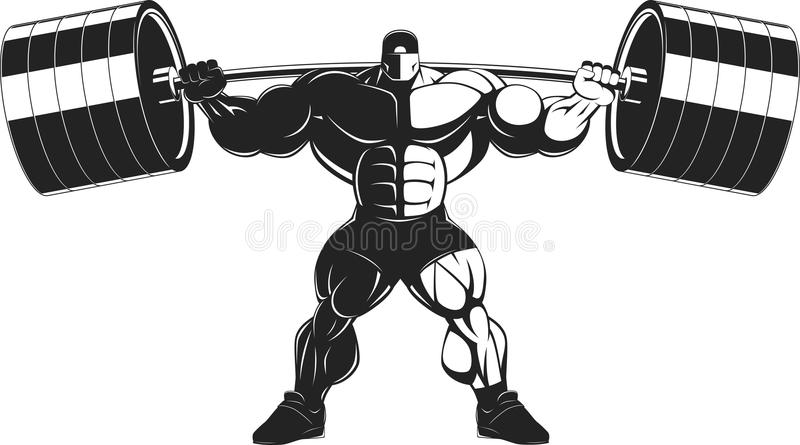Bodybuilder with a barbell royalty free illustration