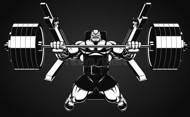 Bodybuilder with a barbell vector illustration