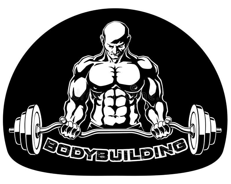 Bodybuilder bedrängt Barbellvektorillustration stock abbildung