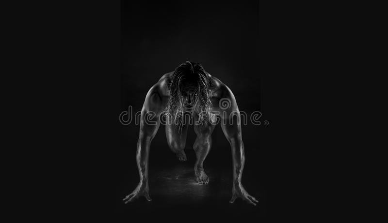 bodybuilder belamente sculpted imagem de stock royalty free
