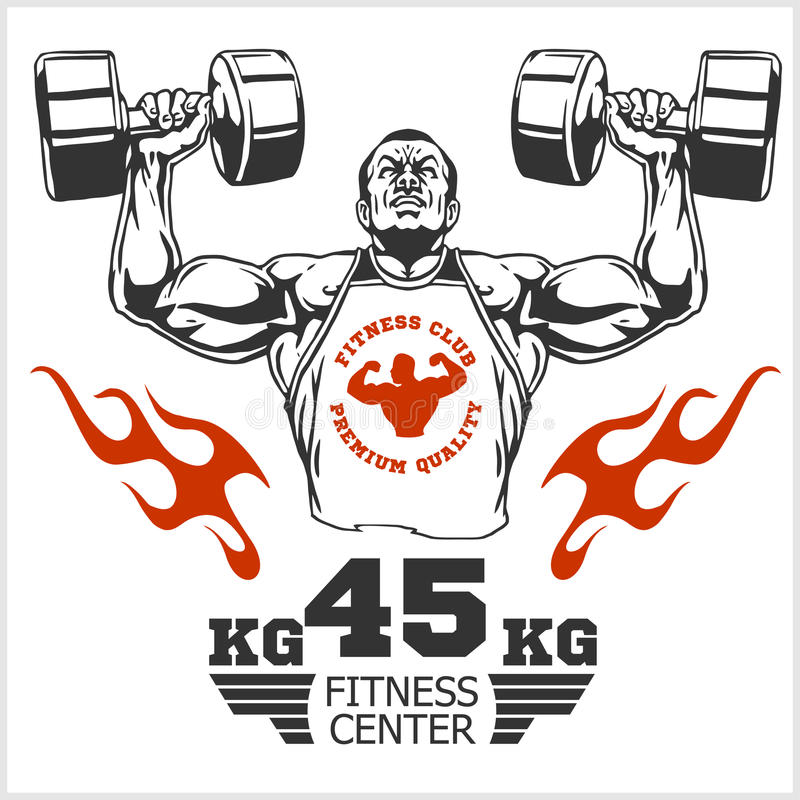Bodybuilder and Bodybuilding Fitness logos emblems. Sports icons. on white. vector illustration