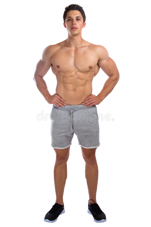 Bodybuilder bodybuilding muscles standing whole body portrait st. Rong muscular young man isolated on a white background stock photos