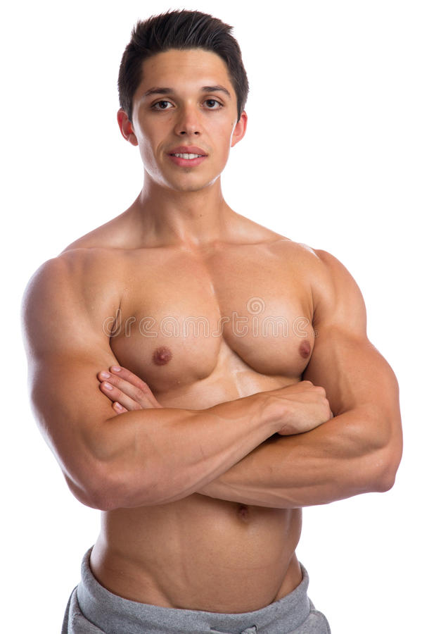 Bodybuilder bodybuilding muscles strong muscular upper body young man isolated. On a white background stock photos