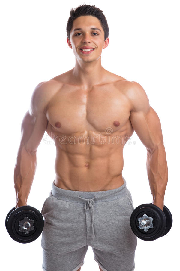 Bodybuilder bodybuilding muscles strong muscular young man smiling fitness dumbbells training isolated. On a white background royalty free stock photo