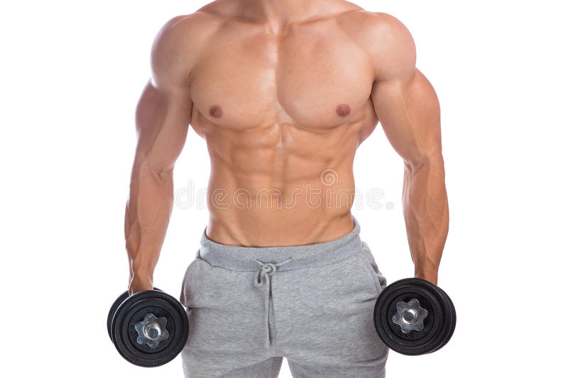 Bodybuilder bodybuilding muscles upper body strong muscular man. Dumbbells abs training isolated on a white background stock photos