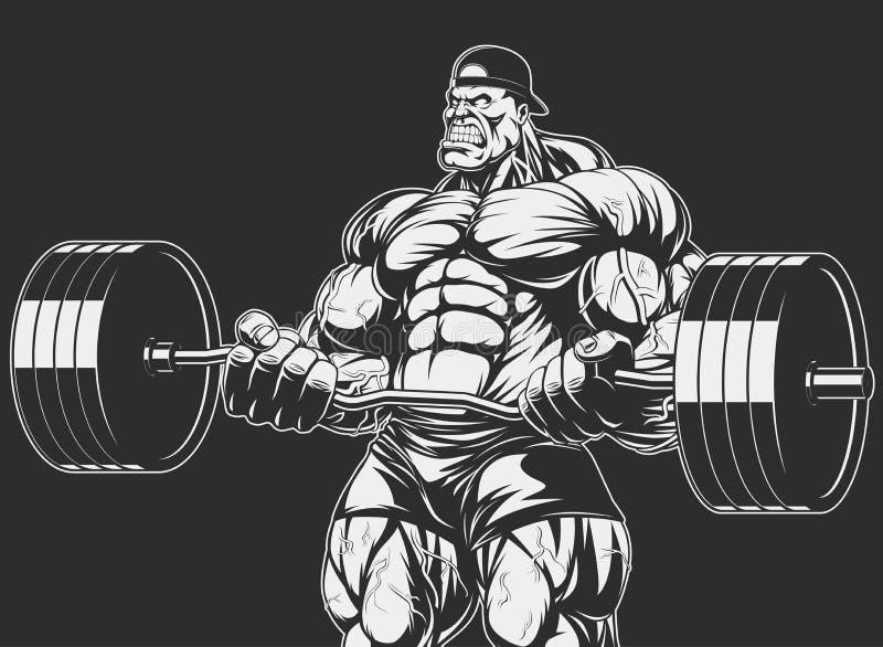Bodybuilder con el barbell stock de ilustración