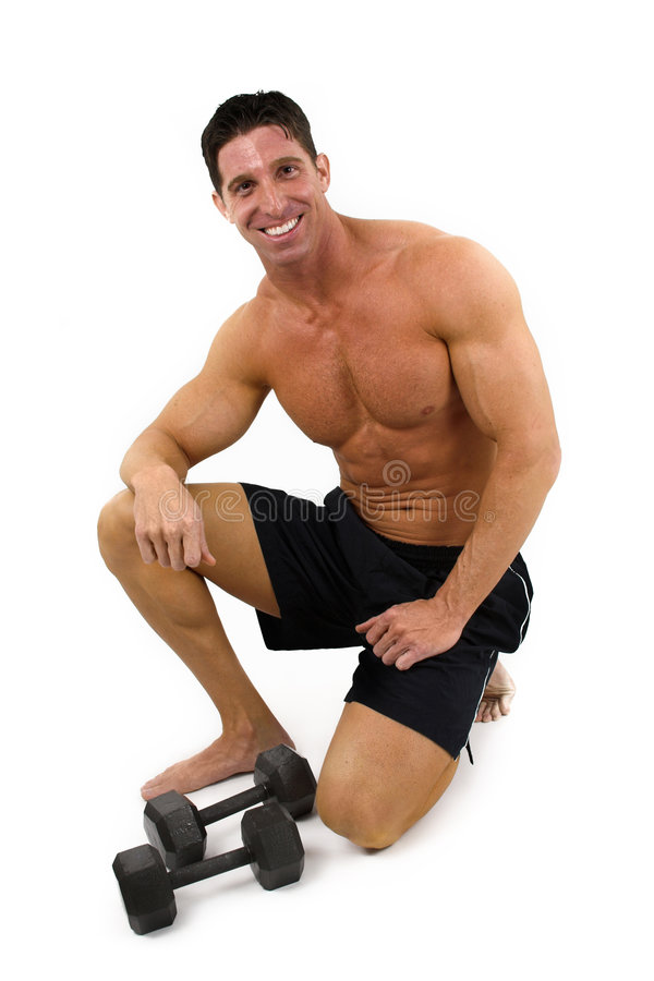 Bodybuilder con i pesi fotografie stock