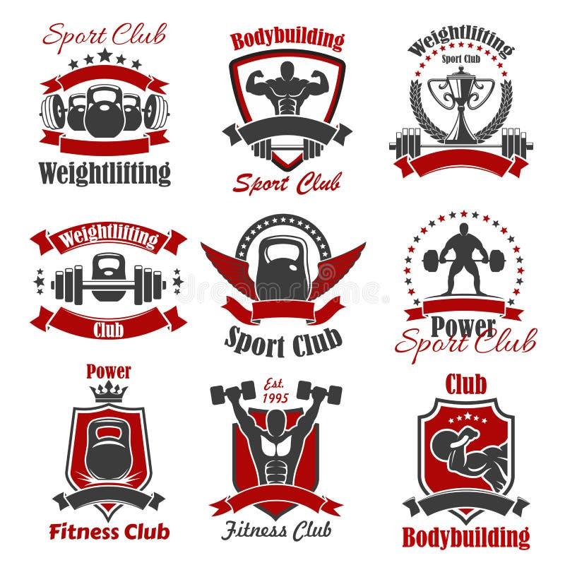 Bodybuilder d'athlète et icône de sport de poids illustration libre de droits