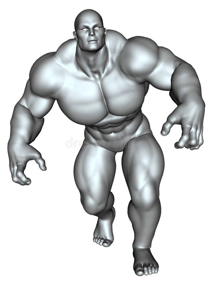 Bodybuilder dans la pose d'action illustration stock