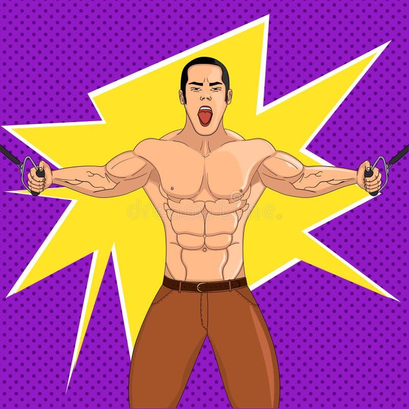 Bodybuilder in de gymnastiek De atleet trekt gewicht Pop-artvector De imitatie van grappige stijl vector illustratie