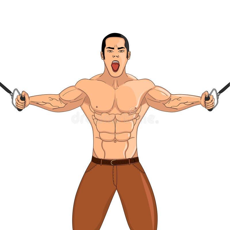 Bodybuilder in de gymnastiek De atleet trekt gewicht Vectorvoorwerp op een witte achtergrond stock illustratie