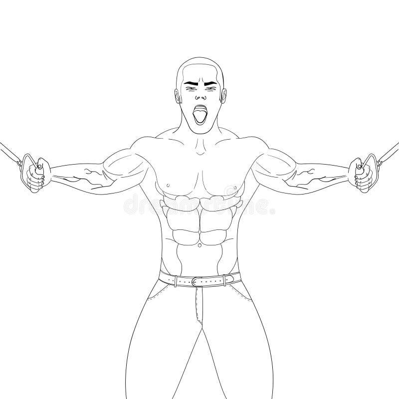Bodybuilder in de gymnastiek De atleet trekt gewicht Vectorvoorwerp op een witte achtergrond Kleurend boek vector illustratie