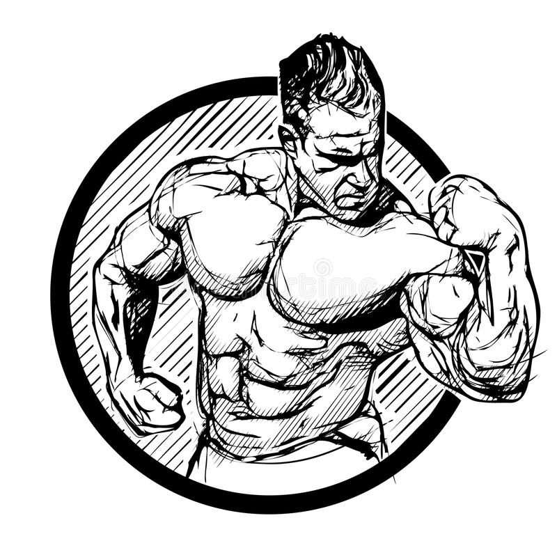 Bodybuilder in de ring vector illustratie