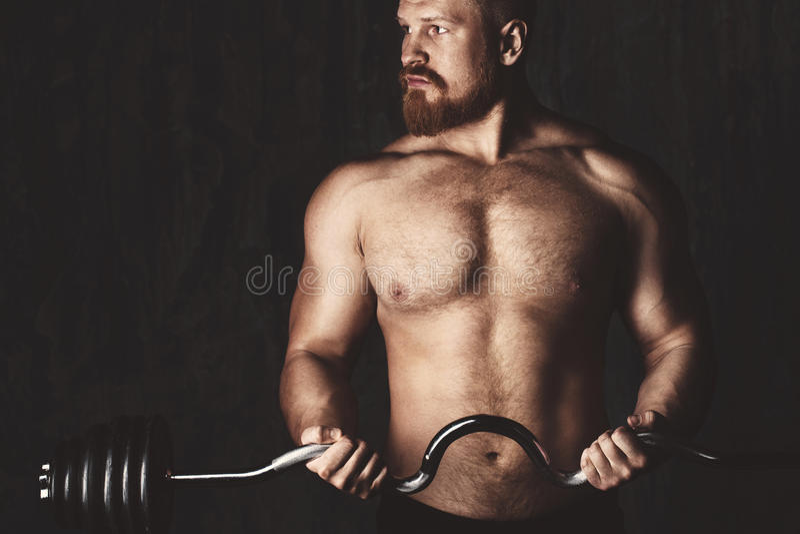 Bodybuilder. Deadlift barbells workout. royalty free stock images
