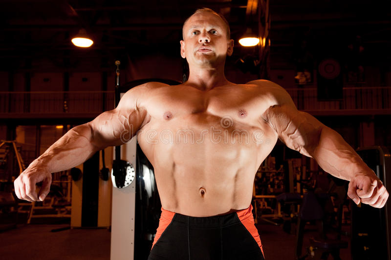 Bodybuilder Demonstrates His Muscles Royalty Free Stock Photography