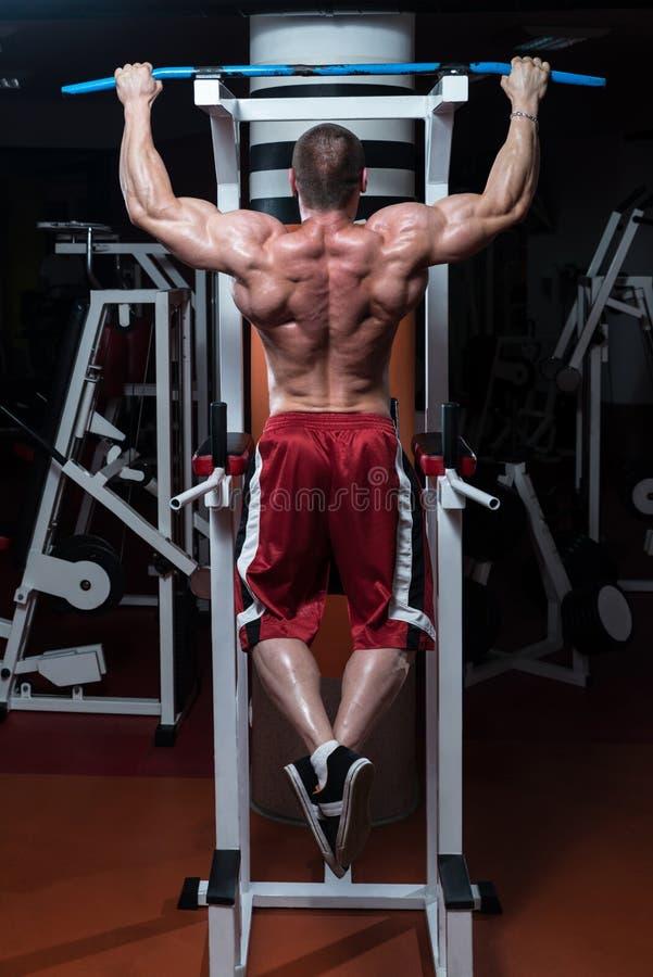 Bodybuilder, der Übung für Rückseite tut stockbilder