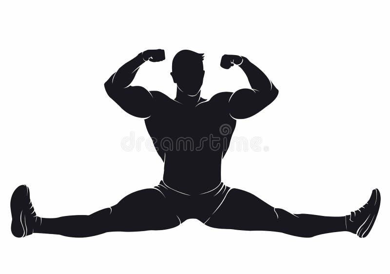 Bodybuilder, der in den Spalten sitzt lizenzfreie abbildung