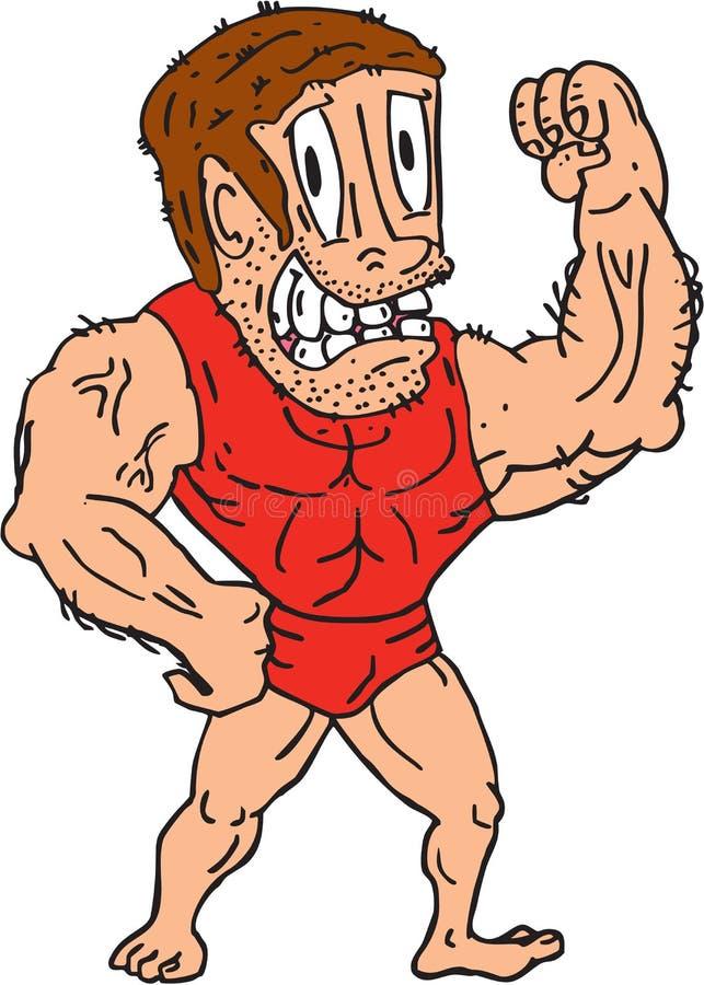 Bodybuilder, Der Muskel-Karikatur Biegt Vektor Abbildung ...