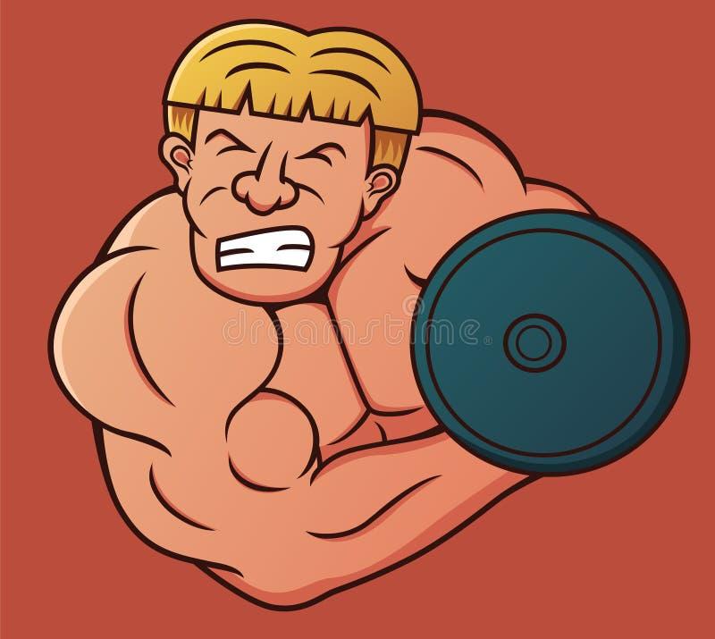 Bodybuilder, der schwere Dummkopf-Locken-Karikatur tut lizenzfreie abbildung