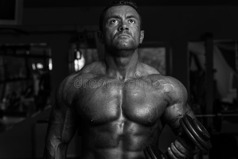 Bodybuilder, der Schwergewichts- Übung für Bizeps mit Dummkopf tut stockfotos