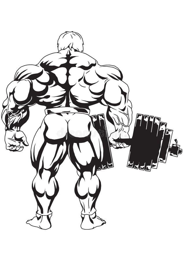 Bodybuilder die Ansicht von der Rückseite stock abbildung