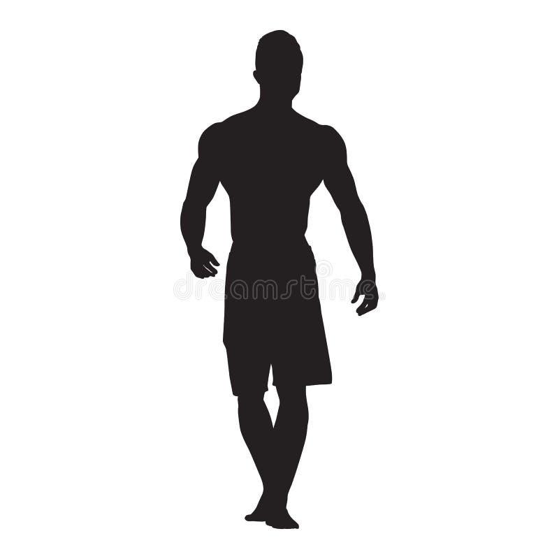 Bodybuilder die, vooraanzicht vectorsilhouet lopen Psychiquepasvorm stock illustratie