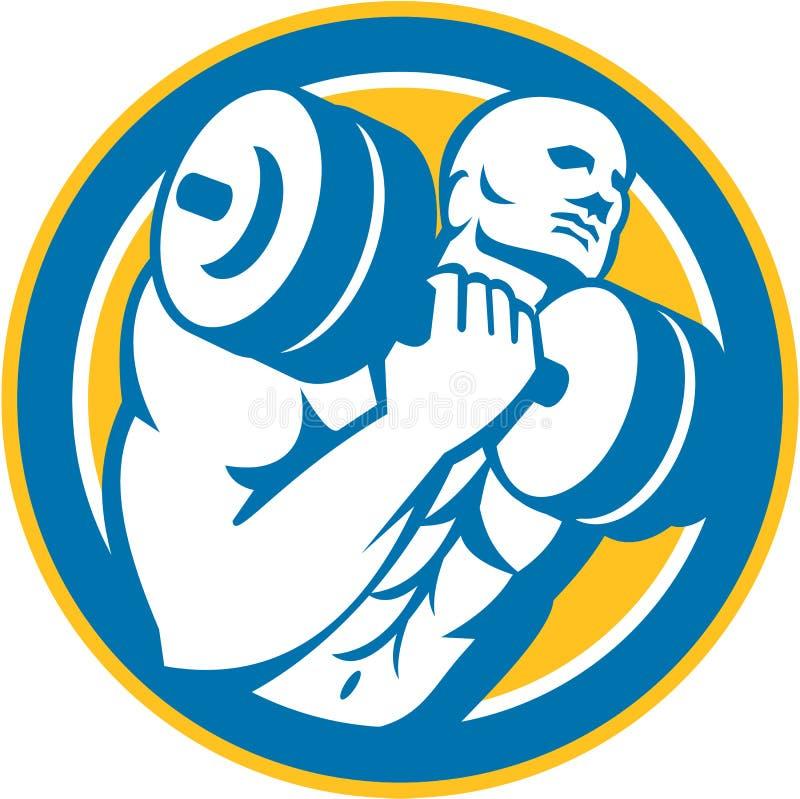 Bodybuilder Dumbbell Podnośny okrąg Retro ilustracji