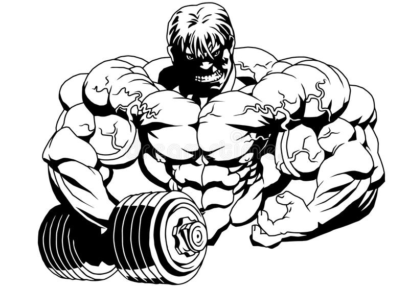 Bodybuilder with dumbbells. Illustration,logo,ink,black and white,outline, on a white stock illustration