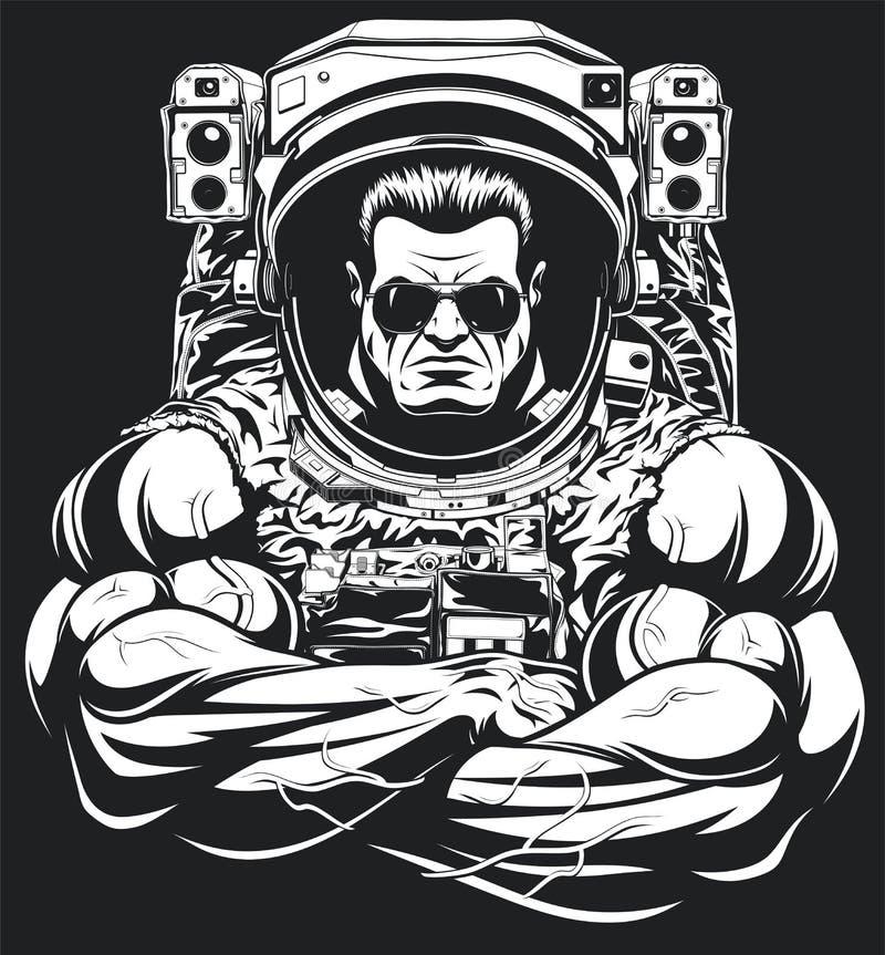 Bodybuilder in einer Astronautenklage lizenzfreie abbildung