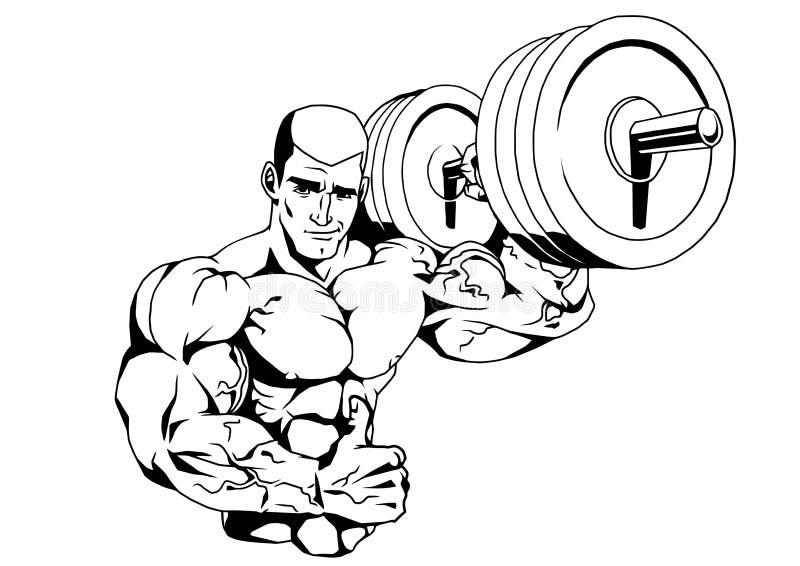 Bodybuilder en barbell royalty-vrije illustratie