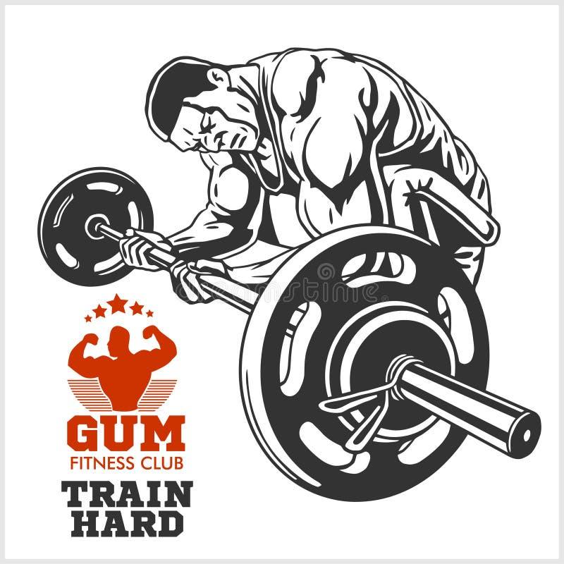 Bodybuilder en Bodybuilding-de emblemen van Geschiktheidsemblemen De pictogrammen van sporten Op wit stock illustratie