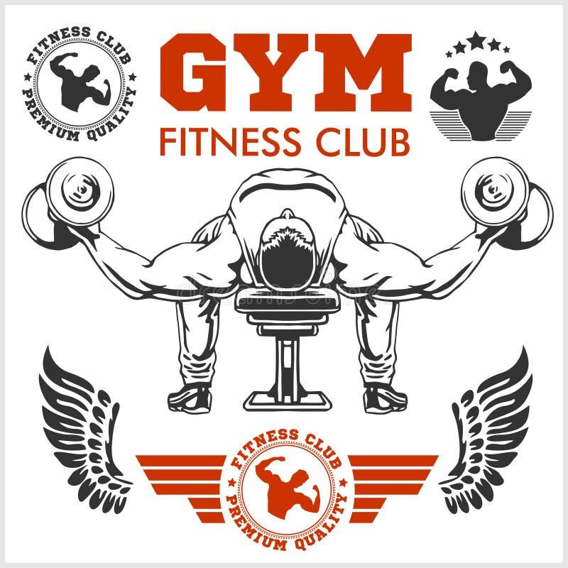 Bodybuilder en Bodybuilding-de emblemen van Geschiktheidsemblemen De pictogrammen van sporten Op wit vector illustratie