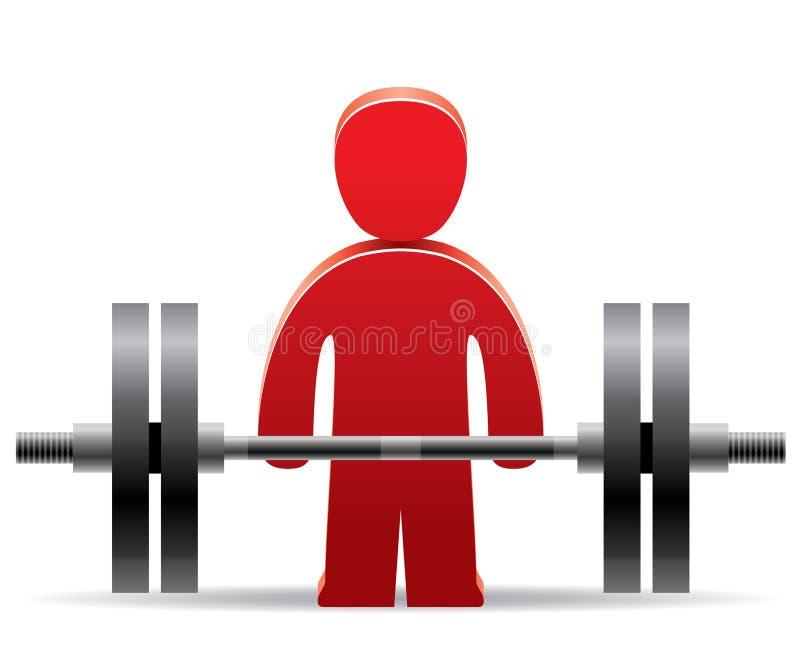 Bodybuilder et poids illustration stock