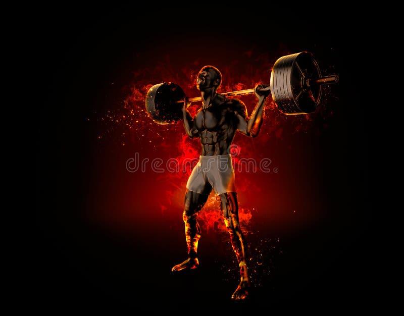 Bodybuilder féroce avec un barbell rendu 3d illustration stock