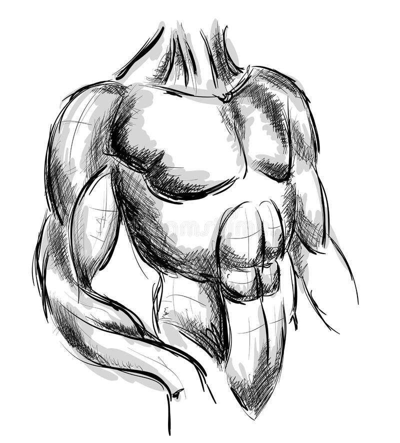 Bodybuilder Forte uomo muscolare atleta o combattente illustrazione di stock
