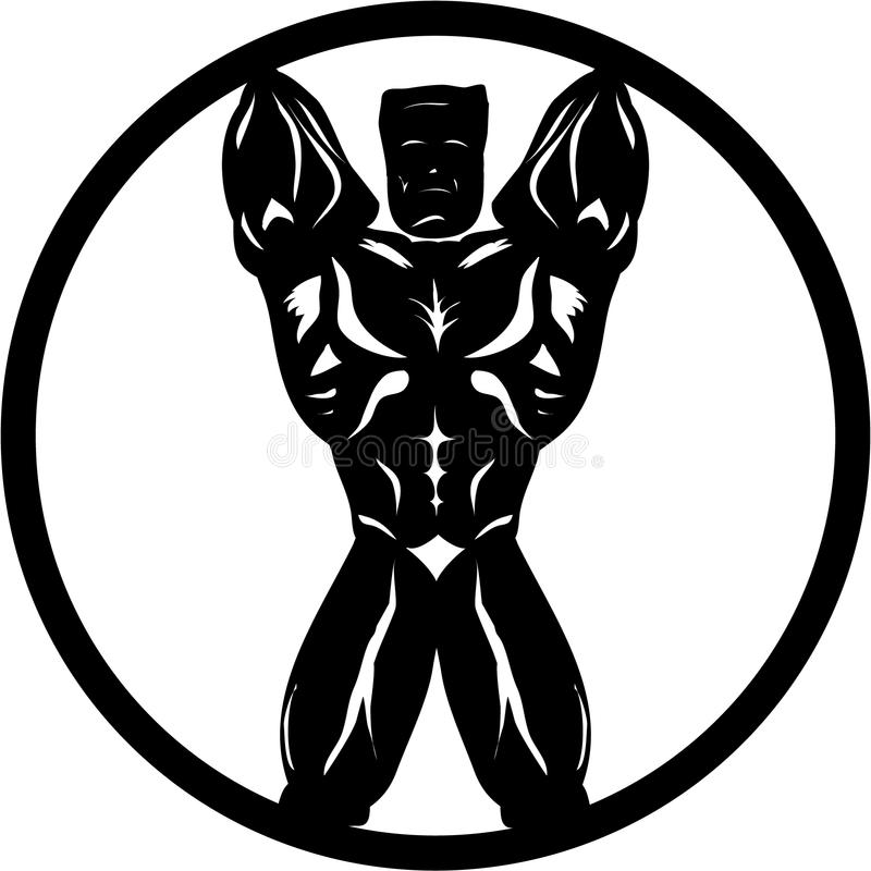 Bodybuilder Front Pose. Bodybuilder abstract silhouette front posing royalty free illustration