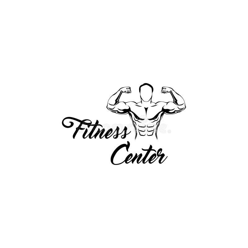 Bodybuilder Geschiktheidscentrum Logo Template Sportman, Spiermens Vector vector illustratie