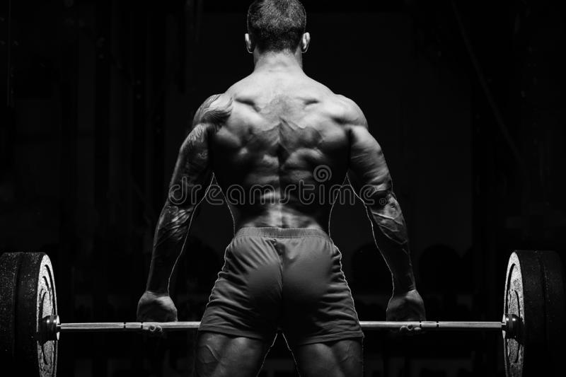 Bodybuilder with great physique and body shape training with barbell in gym over dramatic light. Bodybuilder with great physique and body shape shows perfect royalty free stock images