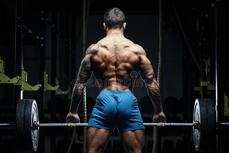 Bodybuilder with great physique and body shape training with barbell in gym over dramatic light. Bodybuilder with great physique and body shape shows perfect royalty free stock photography