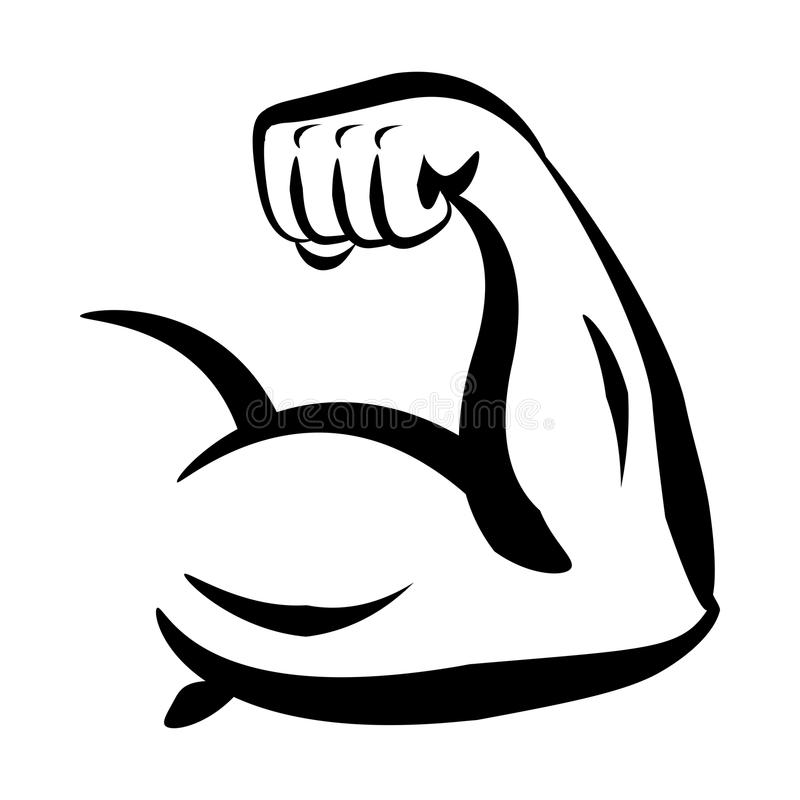 Bodybuilder-großes Bizeps-Vektor-Logo lizenzfreie abbildung