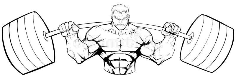 Bodybuilder Gym maskotki pyłu Kreskowa sztuka ilustracja wektor