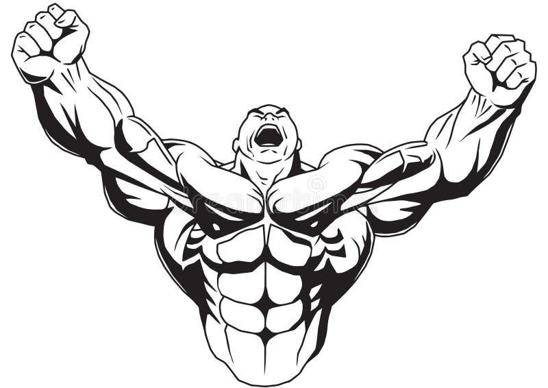 Bodybuilder hebt muskulöse Arme an stock abbildung