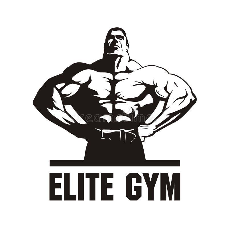 Bodybuilder, het malplaatje van het gymnastiekembleem royalty-vrije stock fotografie