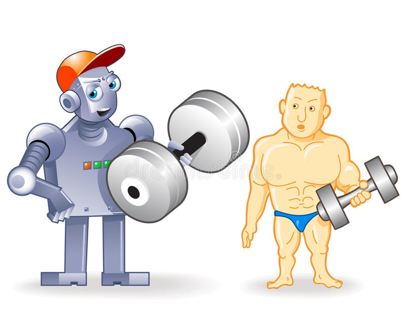 Bodybuilder humain drôle contre Droid fort illustration stock