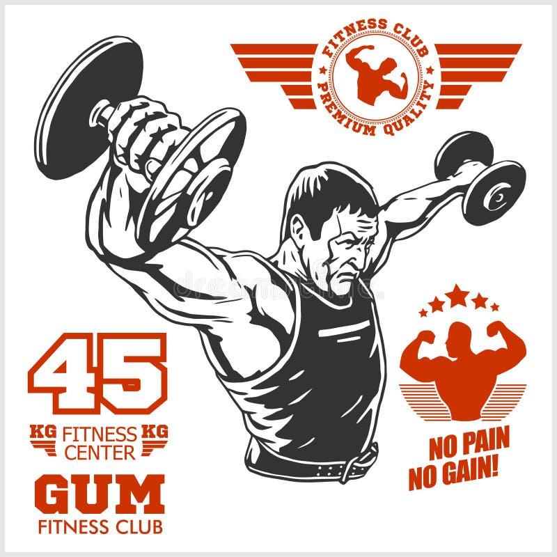 Bodybuilder i Bodybuilding sprawności fizycznej logów emblematy fizyczne fitness ikony siedem sylwetek sportowe Na biel royalty ilustracja