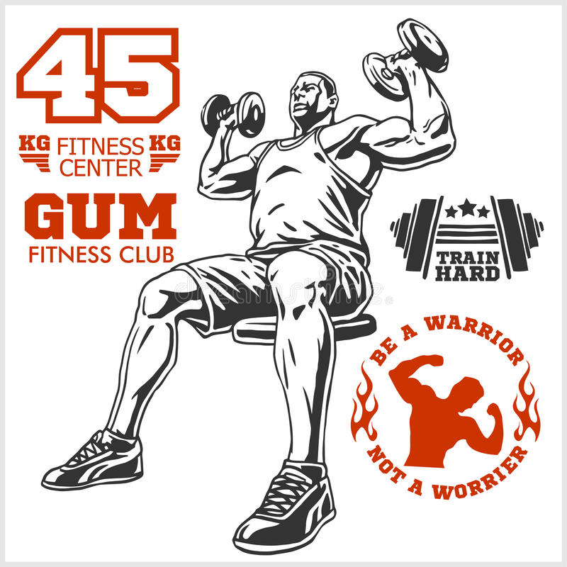 Bodybuilder i Bodybuilding sprawności fizycznej logów emblematy fizyczne fitness ikony siedem sylwetek sportowe Na biel ilustracja wektor