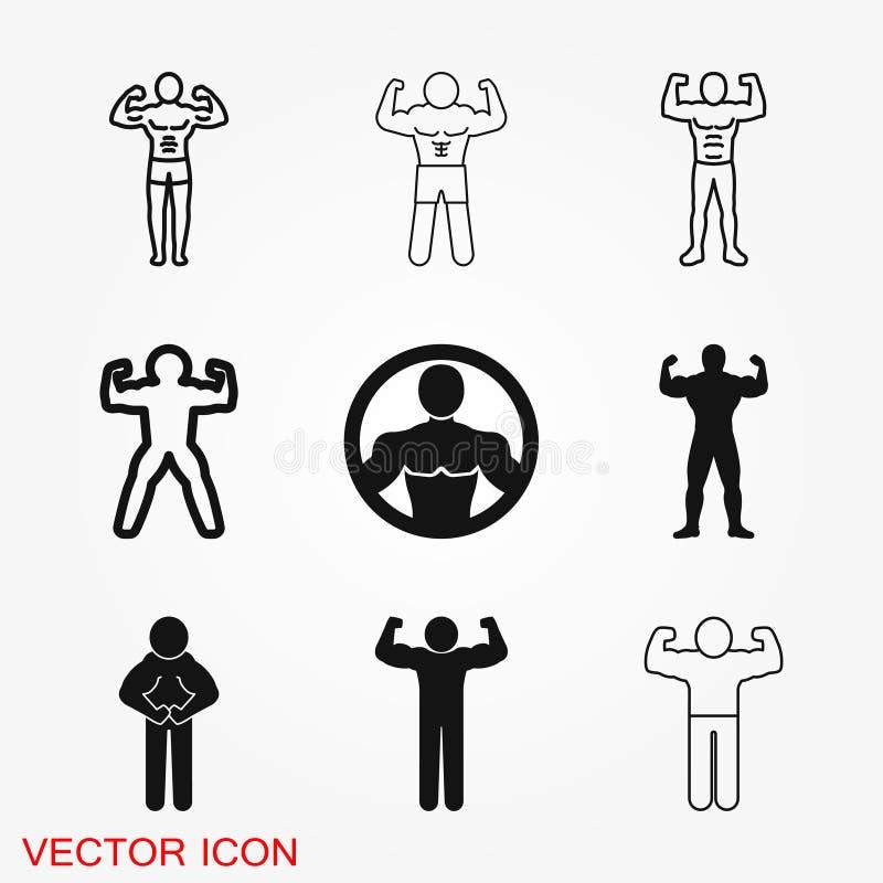 Bodybuilder ikona, mięśnia znak Wektorowa ilustracja dla sieć projekta ilustracji