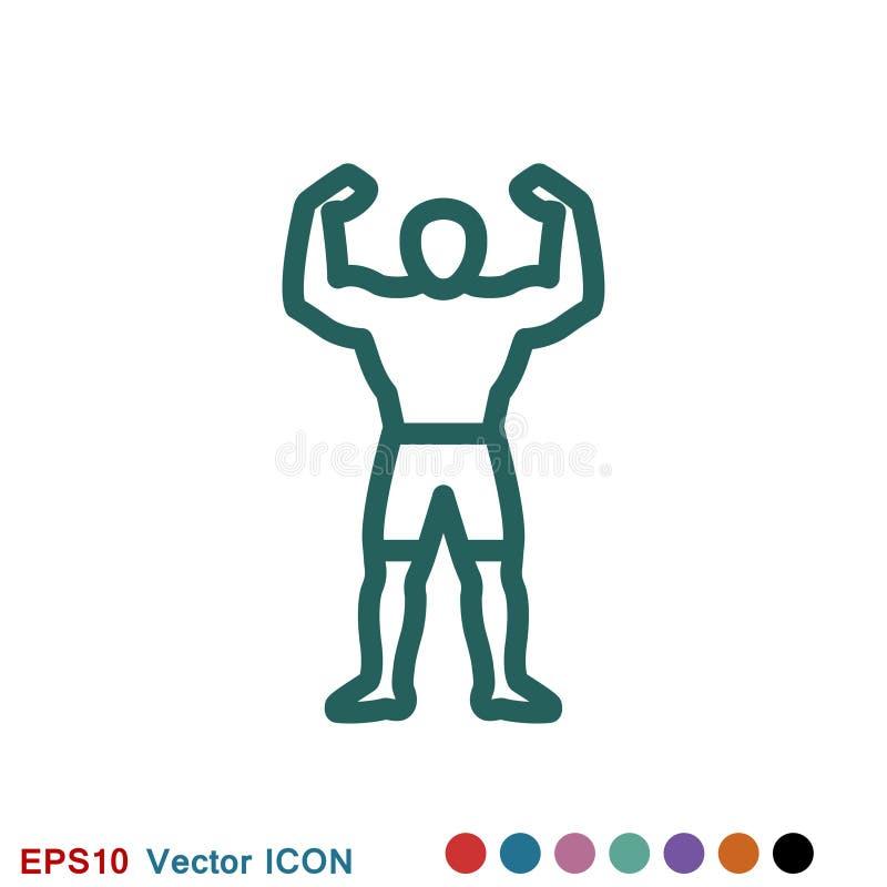 Bodybuilder ikona, mi??nia znak Wektorowa ilustracja dla sie? projekta ilustracji