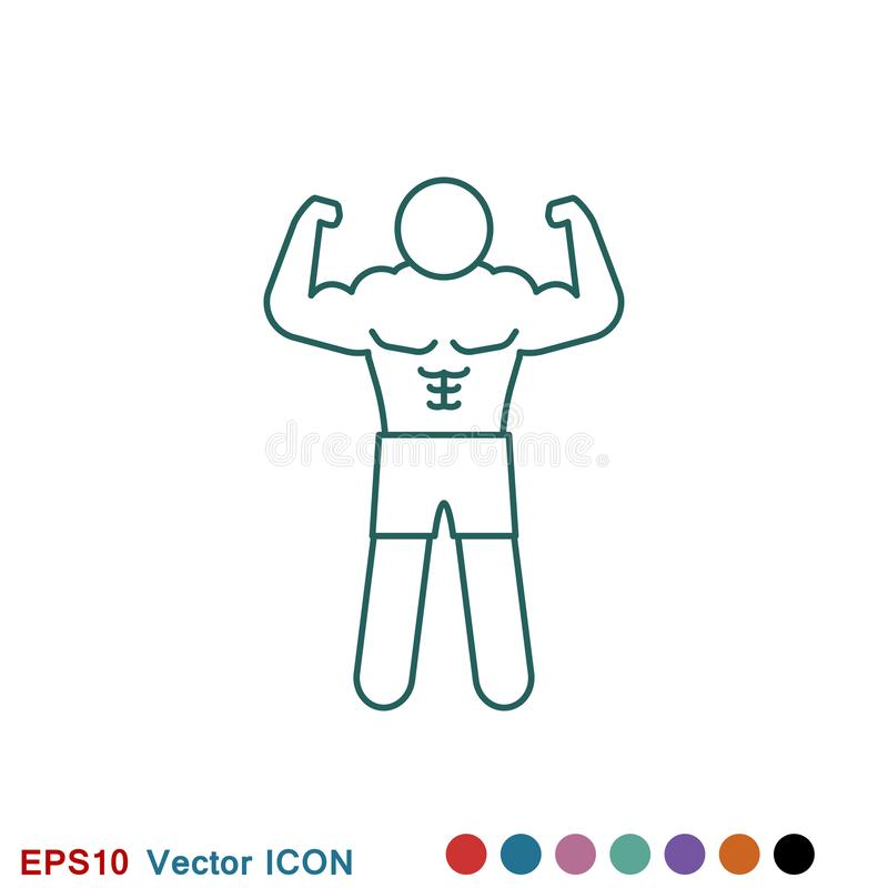 Bodybuilder ikona, mi??nia znak Wektorowa ilustracja dla sie? projekta ilustracja wektor